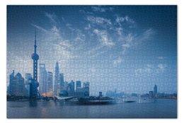 """Пазл 73.5 x 48.8 (1000 элементов) """"Шанхай"""" - китай, china, shànghǎi"""