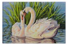 """Пазл 73.5 x 48.8 (1000 элементов) """"Навсегда"""" - картина, лебеди, верность"""