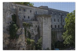 """Пазл 73.5 x 48.8 (1000 элементов) """"Стена вокруг города Авиньон"""" - франция, история, путешествие, крепость, прованс"""