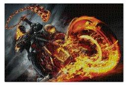 """Пазл 73.5 x 48.8 (1000 элементов) """"Призрачный гонщик"""" - огонь, комиксы, марвел, ghost rider"""