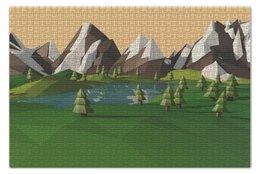 """Пазл 73.5 x 48.8 (1000 элементов) """"Low poly"""" - деревья, горы, пейзаж"""
