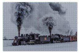 """Пазл 73.5 x 48.8 (1000 элементов) """"Поезд"""" - локомотив, train, locomotiv"""