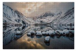 """Пазл 73.5 x 48.8 (1000 элементов) """"Озеро"""" - горы, калифорния, lake"""