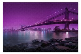 "Пазл 73.5 x 48.8 (1000 элементов) ""Bridge in purple"" - мост, залив"