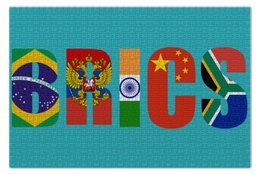 "Пазл 73.5 x 48.8 (1000 элементов) ""BRICS - БРИКС"" - россия, китай, индия, бразилия, юар"