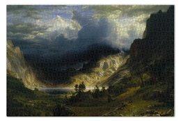 """Пазл 73.5 x 48.8 (1000 элементов) """"Шторм в Скалистых горах (Альберт Бирштадт)"""" - картина, бирштадт"""