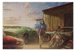 """Пазл 73.5 x 48.8 (1000 элементов) """"Garage"""" - девушка, авто, пустыня, гараж"""