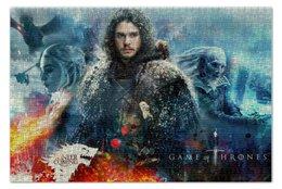 """Пазл 73.5 x 48.8 (1000 элементов) """"Дейнерис Таргариен, Джон Сноу, Король Ночи."""" - сериалы, игра престолов, game of thrones, джон сноу, король ночи"""