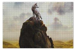 "Пазл 73.5 x 48.8 (1000 элементов) ""Wolf on the rock"" - пейзаж, пустыня, волк, скала"