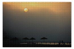 """Пазл 73.5 x 48.8 (1000 элементов) """"Рассвет"""" - рассвет, море, солнце, зонтики, зонты"""