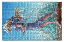 """Пазл 73.5 x 48.8 (1000 элементов) """"Слушая море"""" - море, аниме, океан, projectpanda, вакин"""