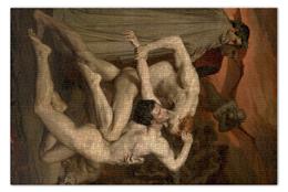 """Пазл 73.5 x 48.8 (1000 элементов) """"Данте и Вергилий в Аду (Вильям Бугро)"""" - картина, бугро, джанни скикки, божественная комедия, живопись"""