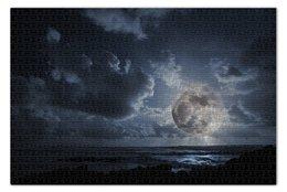 """Пазл 73.5 x 48.8 (1000 элементов) """"Полнолуние"""" - море, облака, луна, полнолуние"""