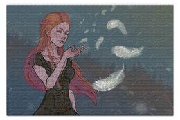 "Пазл 73.5 x 48.8 (1000 элементов) ""Перышко"" - девушка, снег, рыжая, ветер, перышко"