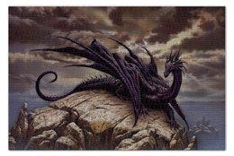 """Пазл 73.5 x 48.8 (1000 элементов) """"Лиловый дракон"""" - дракон, dragon, пейзаж, гора"""