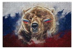 """Пазл 73.5 x 48.8 (1000 элементов) """"Русский Медведь"""" - футбол, медведь, россия, флаг, триколор"""