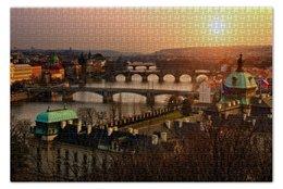 """Пазл 73.5 x 48.8 (1000 элементов) """"Прага"""" - прага, чехия, prague, chech, флаг"""