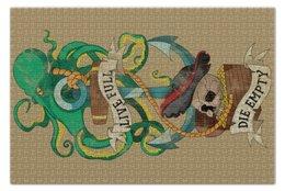 """Пазл 73.5 x 48.8 (1000 элементов) """"Осьминог"""" - old school, пират, якорь, татуировка, череп"""
