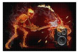 """Пазл 73.5 x 48.8 (1000 элементов) """"МУЗЫКА ФЭНТЕЗИ"""" - гитара, стиль, скелет, огонь, динамик"""