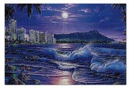 """Пазл 73.5 x 48.8 (1000 элементов) """"ЭКЗОТИКА"""" - море, город, пальмы, прибой, красота ночи"""