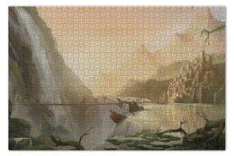 "Пазл 73.5 x 48.8 (1000 элементов) ""Castle in mountains"" - мост, водопад, bridge, замок, waterfall"
