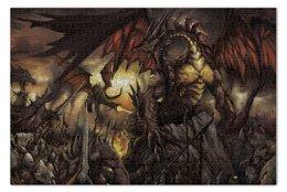 "Пазл 73.5 x 48.8 (1000 элементов) ""Dragon War"" - война, дракон, рыцарь, легион"
