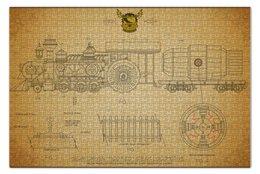 """Пазл 73.5 x 48.8 (1000 элементов) """"Steampunk locomotive"""" - поезд, локомотив, стимпанк, чертеж"""