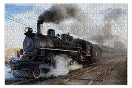 """Пазл 73.5 x 48.8 (1000 элементов) """"Поезд"""" - локомотив, паровоз, железная дорога"""