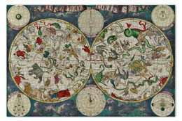 "Пазл 73.5 x 48.8 (1000 элементов) ""Атлас звёздного неба XVII века"" - карта, небо, звёзды"