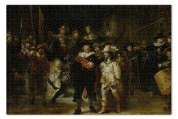 """Пазл 73.5 x 48.8 (1000 элементов) """"Ночной дозор (картина Рембрандта)"""" - картина, рембрандт"""