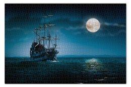 """Пазл 73.5 x 48.8 (1000 элементов) """"Фрегат"""" - корабль, океан, ship, полнолуние"""