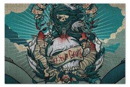 """Пазл 73.5 x 48.8 (1000 элементов) """"Death clouds"""" - skull, череп, облака, death, смерть"""