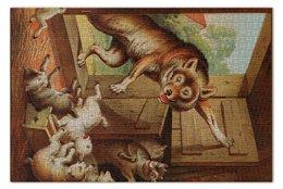 """Пазл 73.5 x 48.8 (1000 элементов) """"Волк и семеро козлят"""" - картина, лёйтеманн"""