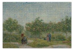 """Пазл 73.5 x 48.8 (1000 элементов) """"Garden in Montmarte with lovers (Ван Гог)"""" - картина, ван гог, живопись"""