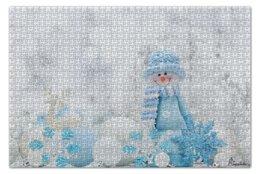 """Пазл 73.5 x 48.8 (1000 элементов) """"Снеговик"""" - снег, игрушки, снежинки, new year"""