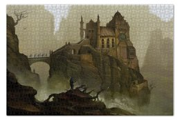 """Пазл 73.5 x 48.8 (1000 элементов) """"Странствующий воин"""" - воин, скала, замок, рыцарь"""