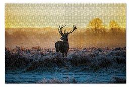 """Пазл 73.5 x 48.8 (1000 элементов) """"Wild deer"""" - закат, олень, поле"""