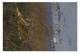 "Пазл 73.5 x 48.8 (1000 элементов) ""Тигр среди камышей в лунном свете"" - картина, тигр, геза"