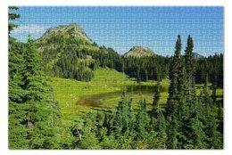 """Пазл 73.5 x 48.8 (1000 элементов) """"Mountains trees"""" - деревья, горы, поле, озеро"""