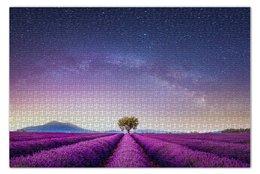 "Пазл 73.5 x 48.8 (1000 элементов) ""Без названия"" - космос, небо, природа, звёзды, лаванда"