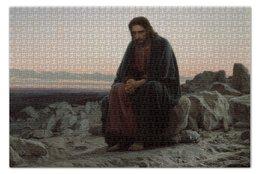 """Пазл 73.5 x 48.8 (1000 элементов) """"Христос в пустыне (картина Крамского)"""" - картина, крамской"""
