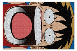"Пазл 73.5 x 48.8 (1000 элементов) ""Луффи - Чё??!!"" - аниме, шляпа, one piece, луффи, монки ди луффи"