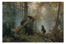 """Пазл 73.5 x 48.8 (1000 элементов) """"Утро в сосновом лесу"""" - медведи, шишкин, утро в сосновом лесу"""