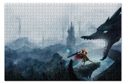 "Пазл 73.5 x 48.8 (1000 элементов) ""Child of light"" - дракон, dragon, princess, рпг, sword"