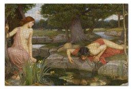 """Пазл 73.5 x 48.8 (1000 элементов) """"Нарцисс и Эхо (Джон Уильям Уотерхаус)"""" - картина, живопись, уотерхаус"""