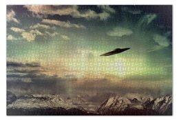 """Пазл 73.5 x 48.8 (1000 элементов) """"Ufo  """" - горы, нло, уфо, неопознанный летающий объект"""