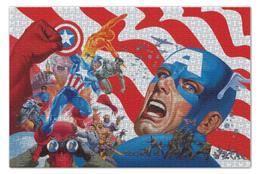 "Пазл 73.5 x 48.8 (1000 элементов) ""Капитан Америка"" - комиксы, кэп, мстители, марвел, captain america"