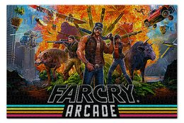 """Пазл 73.5 x 48.8 (1000 элементов) """"FARGRY. ВИДЕОИГРЫ"""" - животные, оружие, персонажи, стиль надпись логотип яркость"""