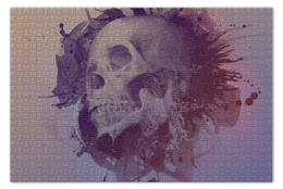 "Пазл 73.5 x 48.8 (1000 элементов) ""Splatter Skull"" - skull, череп, брызги, краска"