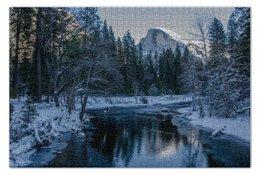 "Пазл 73.5 x 48.8 (1000 элементов) ""Yosemite National Park"" - зима, горы, река, национальный парк"